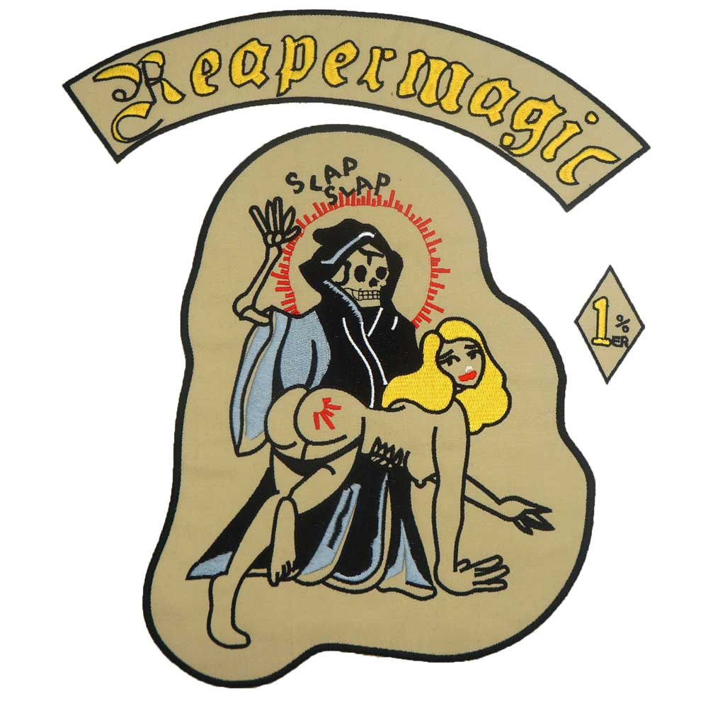 REAPERMAGIC <font><b>1</b></font>% <font><b>MC</b></font> large Embroidered punk biker <font><b>Patches</b></font> Clothes Stickers Apparel Accessories Badge image