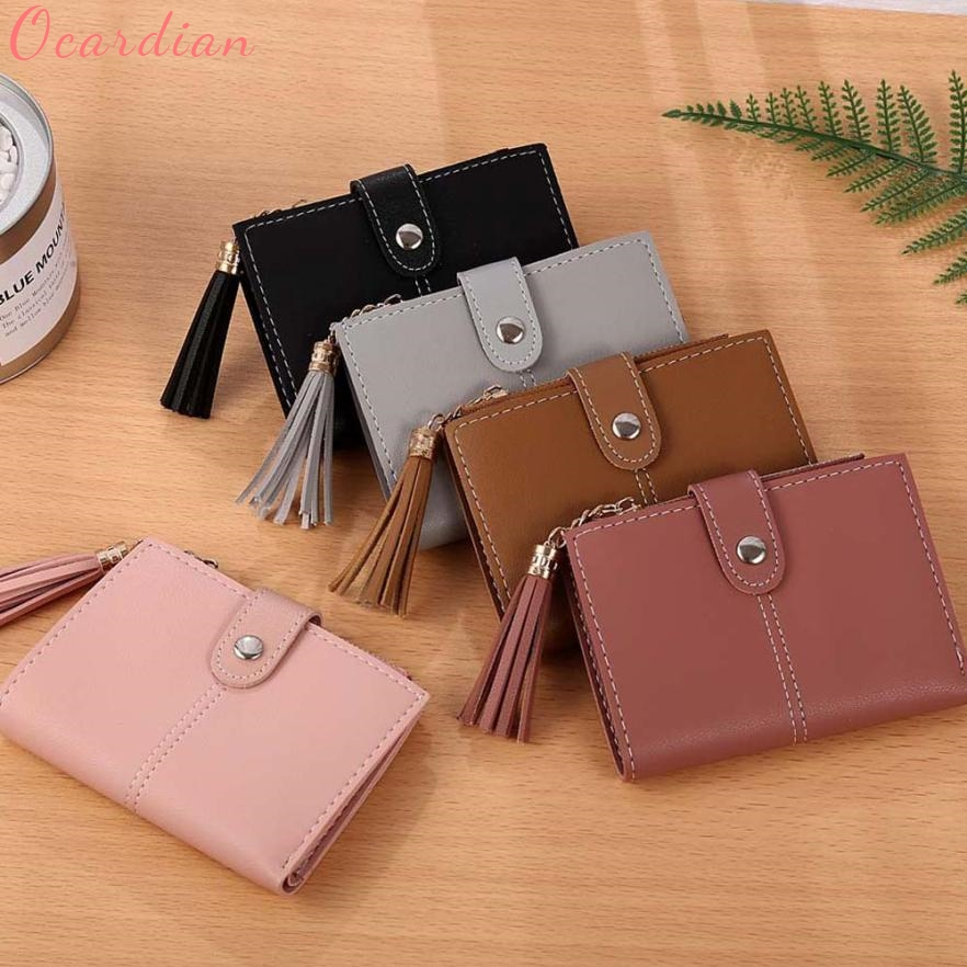 Ocardian Wallets Holders Short Wallet Female Photo Holder Card Holder Coin Purse Women Simple Short Tassel Coin Purse Dec21