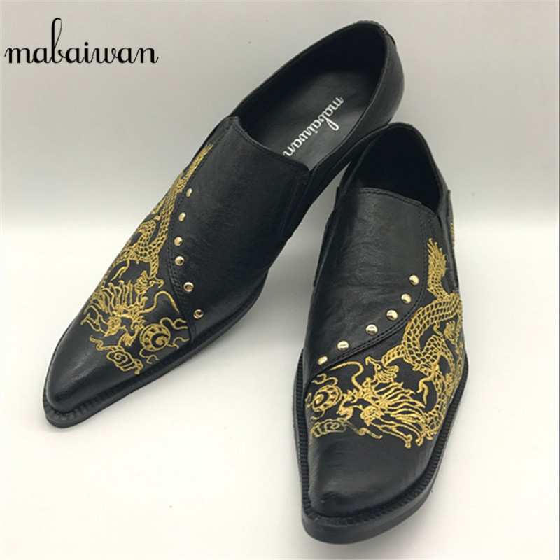Mabaiwan Dragon Embroidered Men Real Leather Shoes Pointed Toe Zapatos Hombre Rivet Wedding Dress Party Shoe Men Creepers Flats shoes men black dress shoes genuine leather pointed toe metalic slip on business men shoes for wedding party zapatos hombre xxz5