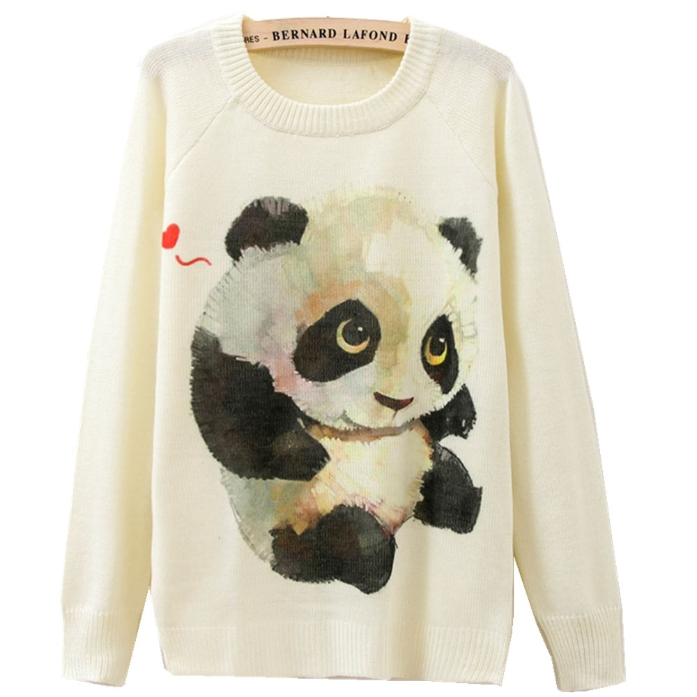 Cute Panda Print Women Winter Sweaters and Pullovers Korean Style Long Sleeve Sweater Christmas Sweater