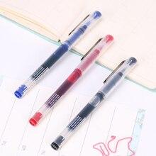 1 шт., черная, красная ручка с синими чернилами, канцелярская ручка для письма, 0,5 мм, прямая гелевая ручка жидкого типа, хорошее качество