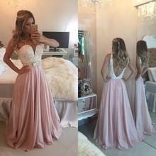 Sweety Pink Prom Dress Beaded Sweetheart Sleeveless Floor Length Chiffon Long Dresses Backless Vestidos De Festa