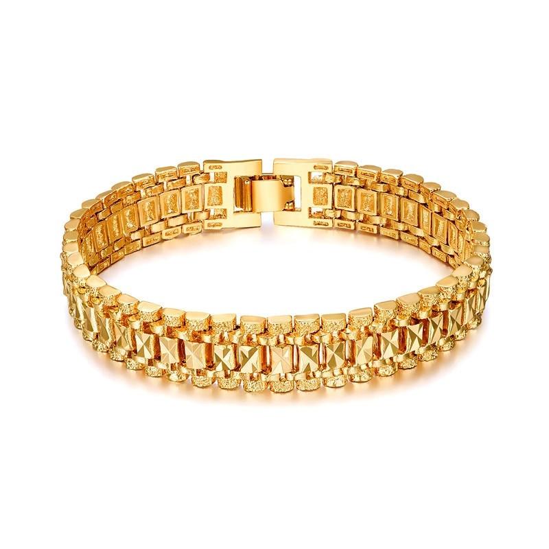 Chunky Men's Hand Chain Білезік Білезік Көтерме Bijoux Silver / Gold Colour Link Білезік Ерлерге арналған Зергерлік бұйымдар pulseira masculina