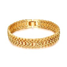 Brand New Trendy Temperament Elegant 18k Real Gold Plated Vintage Chain Link Bracelets for Women & Men Cuff Jewelry SL166