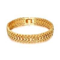 Brand New Trendy Temperament Elegant 18k Real Gold Plated Vintage Chain Link Bracelets For Women Men