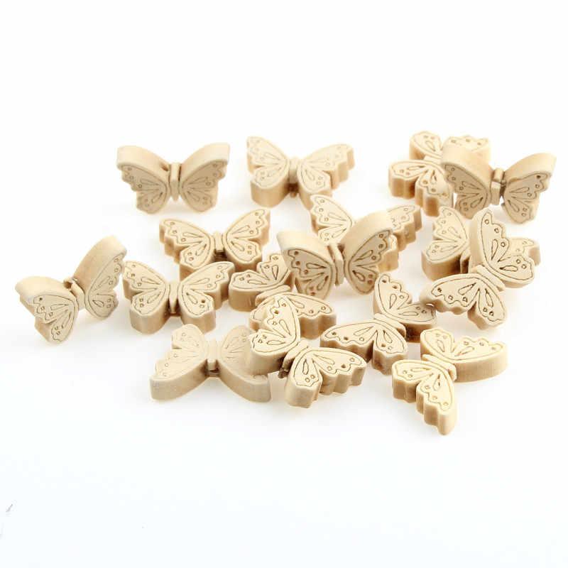Новинка, деревянные бусины с бабочкой, 40 шт., деревянные материалы для малышей, поделок, детские игрушки, ожерелье-прорезыватель, пустышка, зажим, разделитель для бисера