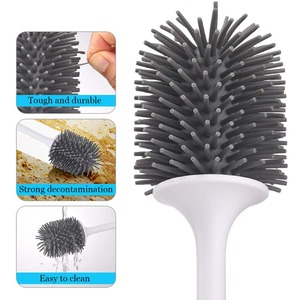 Image 5 - Silicone Toilet Brush With Holder Set Plastic Toilet Bowl Brush Wall mounted or Floor Standing Bathroom Toilet Cleaning Brush