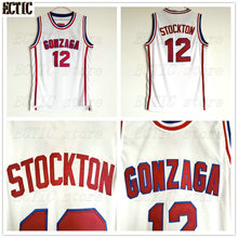 f0992a9473a0 ECTIC John Stockton Basketball Jersey 12 Gonzaga Bulldogs College Breathable  fabrics