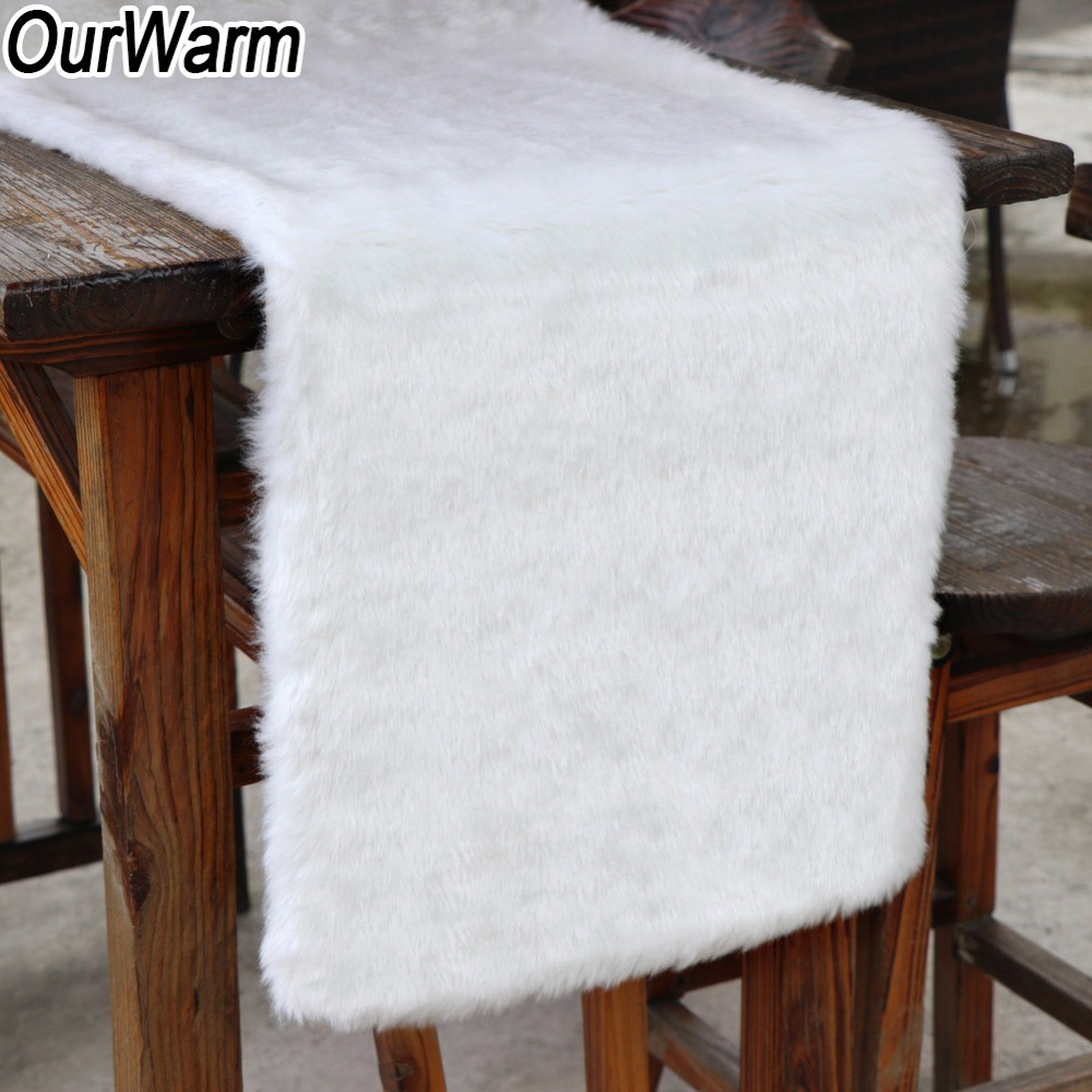 OurWarm White Christmas Table Runner Sofa Plush Luxury Faux Fur Table Runner Christmas Decoration For Home New Year Present