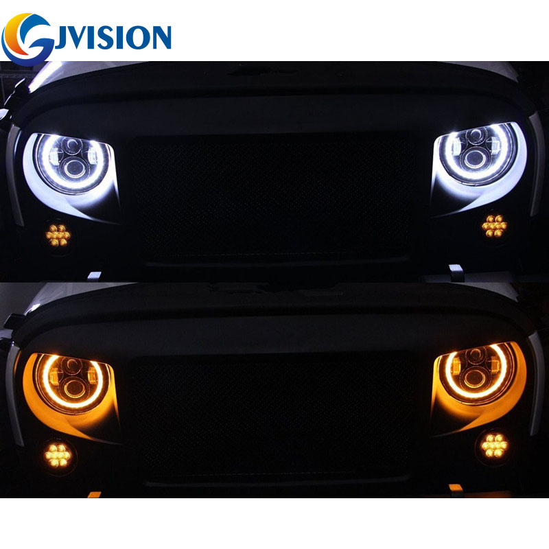 7'' Halo Angel eyes DRL LED Headlight 7 inch Round led Driving light 6000K Waterproof lamp for Jeep JK 4X4 4WD Offroad Lada for jeep wrangler jk land rover defender hummer led headlamp 7 inch round headlight with halo angel eyes for lada 4x4 urban niva