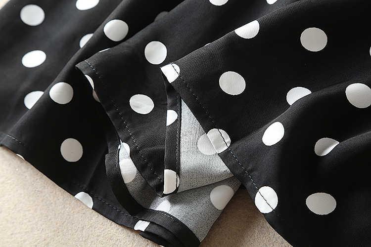 2018 가을 최신 브랜드 패션 스타일 a 라인 슬래시 목 어깨에서 뻗 치고 점 인쇄 우아한 긴 드레스 여성