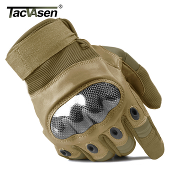 TACVASEN Military Tactical Gloves Men's Gloves Hard Shell Full Finger Gloves Airsoft Anti-slip Paintball Leather Gloves 2