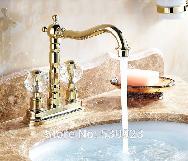 Newly Euro Luxury Style Bathroom Basin Faucet Mixer Tap Golden Finished Sink Faucet Dual Crystal Handles Deck Mounted uythner newly euro style bathroom 3pcs basin faucet dual crystal handles nickel brushed waterfall sink mixer tap