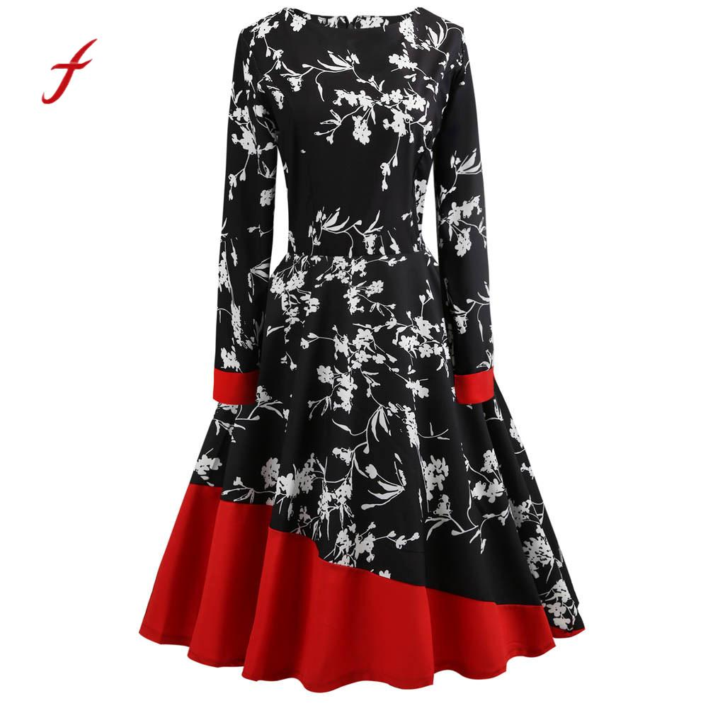 Feitong Women Spring Summer Dress Vintage Floral Patchwork Bodycon Long Sleeve High Waist Retro Party Prom