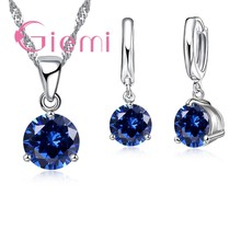 Luxury Round Austrian Crystal Necklace Earrings For Lovely Female Anniversary Gift 925 Sterling Silver and CZ(China)