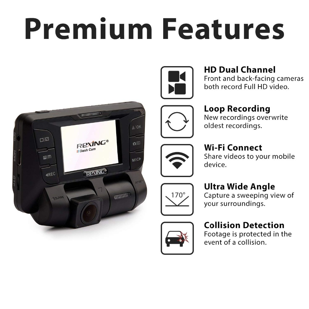 Rexing V2 4k Car Dvr Front Back Dual Channel Full Hd 1080p Wi Fi