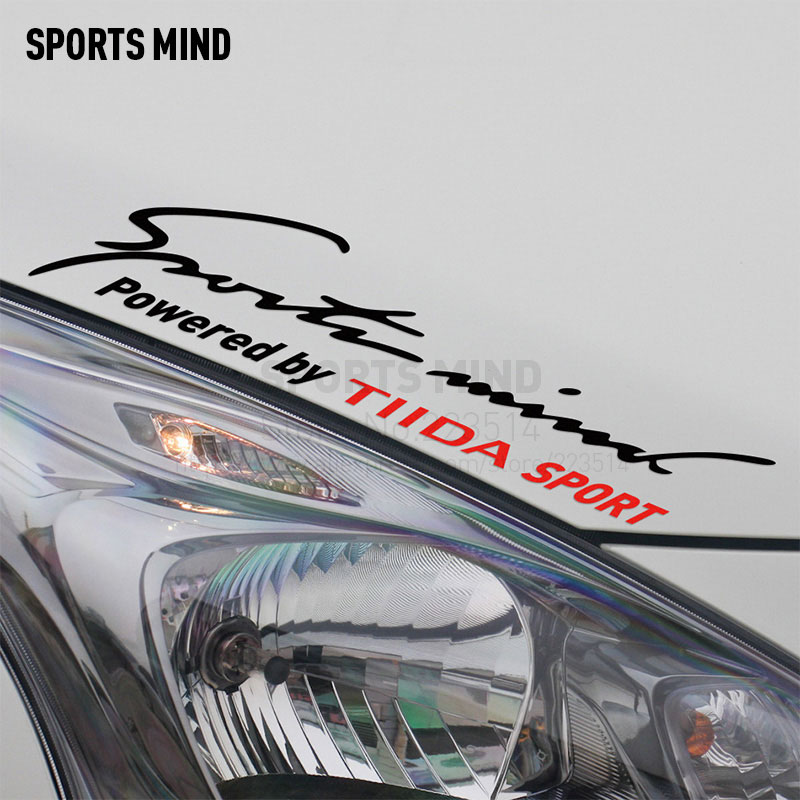 2 Pieces Sports Mind Car Styling On Car Lamp Eyebrow Automobiles Car Sticker For Nissan tiida exterior accessories