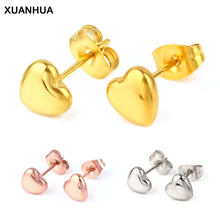 XUANHUA Stainless Steel Heart Earrings Fashion Jewelry Stud Earrings For Women Jewelry Brincos Earrings 2019 Women Accessories(China)