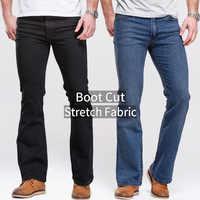 Mens dei jeans boot cut gamba leggermente svasato slim fit nero della metà di vita maschio casuale dei jeans del progettista classico di stirata del denim dei pantaloni