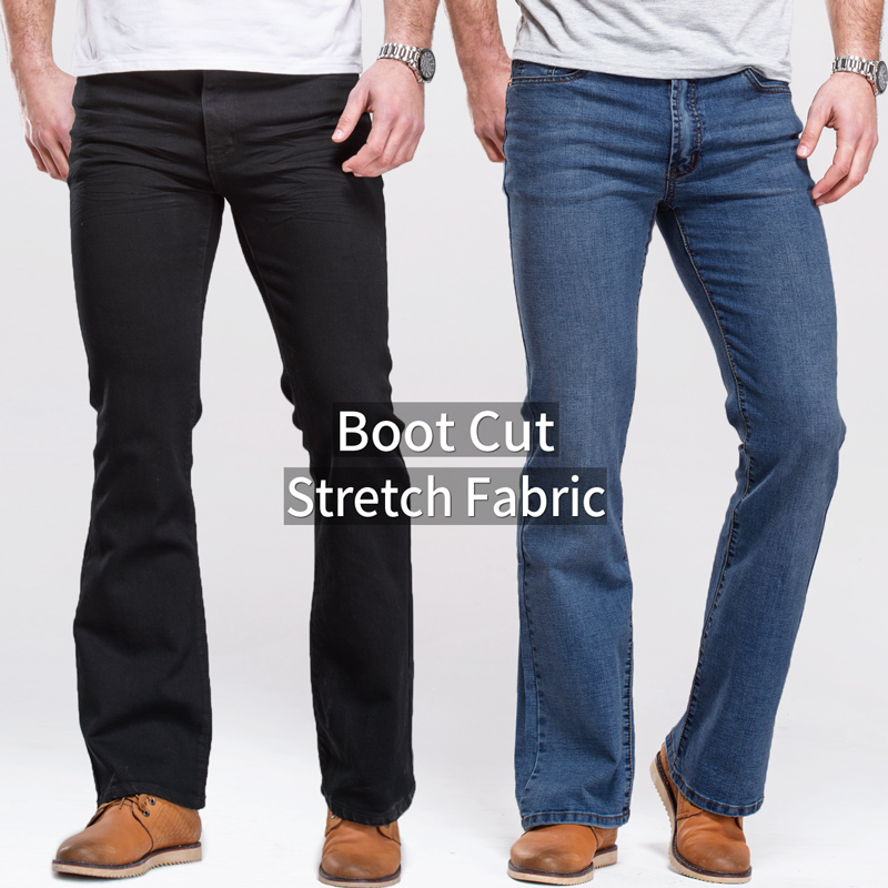 Mens Jeans Boot Cut Leg Slightly Flared Slim Fit Black Mid Waist Male Casual Jeans Designer Classic Stretch Denim Pants