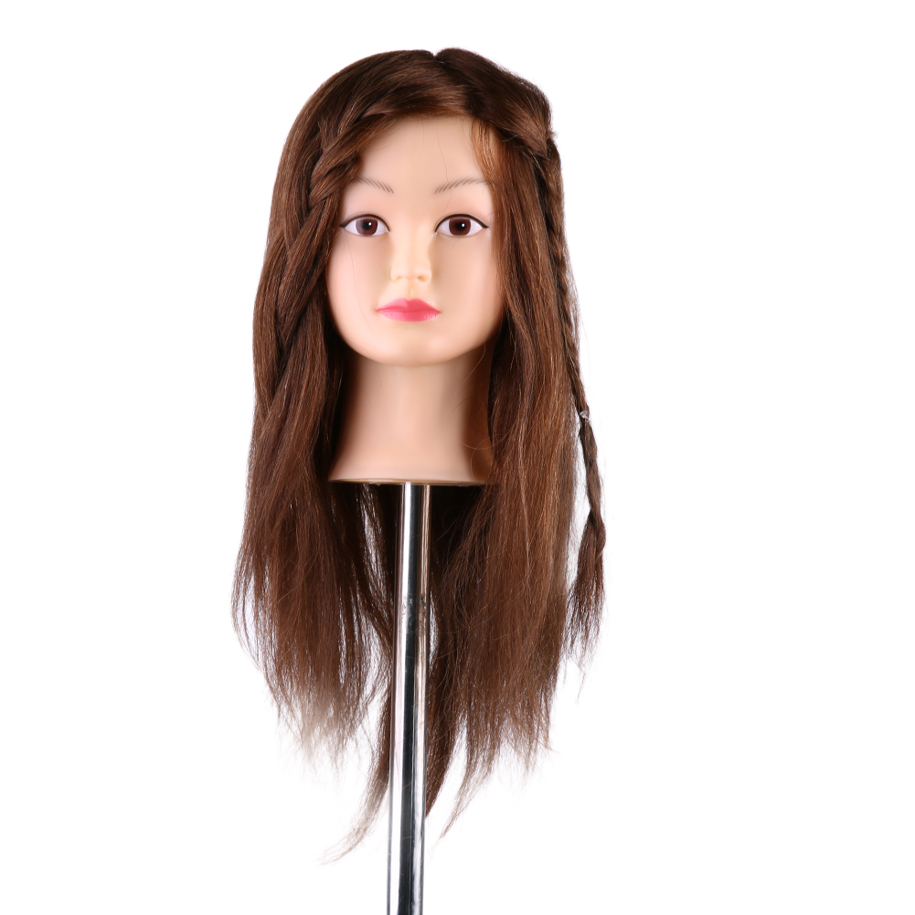 55cm Hairdressing Training Mannequin Practice Head 100% Real Human Hair Brown Long Hair Can Be Curled Dyed Hairdressing Practice