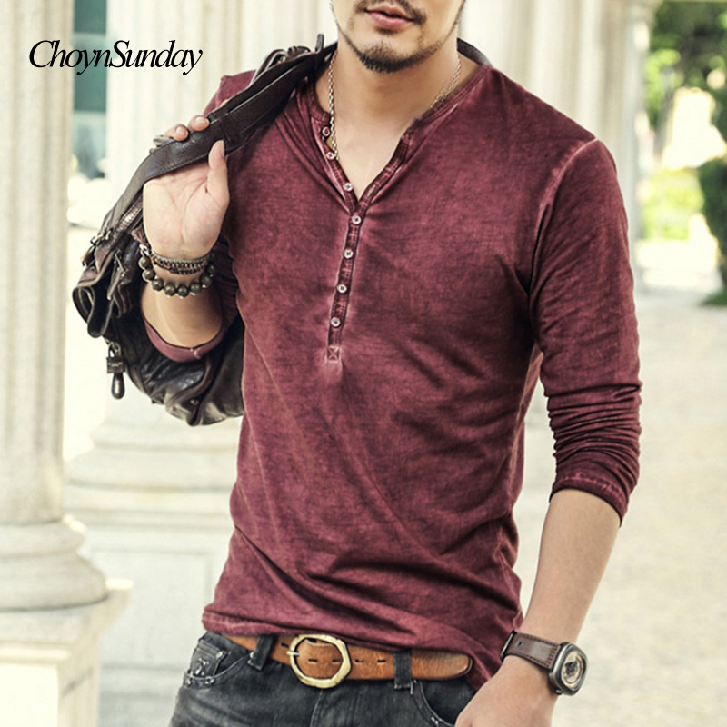 2018 Choynsunday Heißer Designer Männer Baumwolle Vintage Henry T Shirts Casual Langarm Hohe Qualität Männer Alte Farbe Strickjacke T-shirt