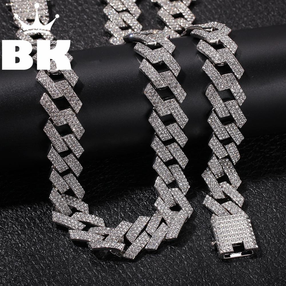 2cm Hip Hop Gold Color Iced Out Crystal Miami Cuban Chain Gold 