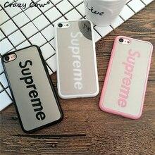 Luxury Brand Mirror Supreme Mobile Phone Case For Apple iPhone 5 5s Se 6 6s 6 Plus 7 7Plus Cases Cover Fundas Hard PC Coque Capa