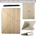 Оригами Стиль Крест Ultra Slim Легкий Смарт Крышки PU кожаный ясно Вернуться Folio Чехол для Apple iPad Pro 12.9 дюйма таблетки