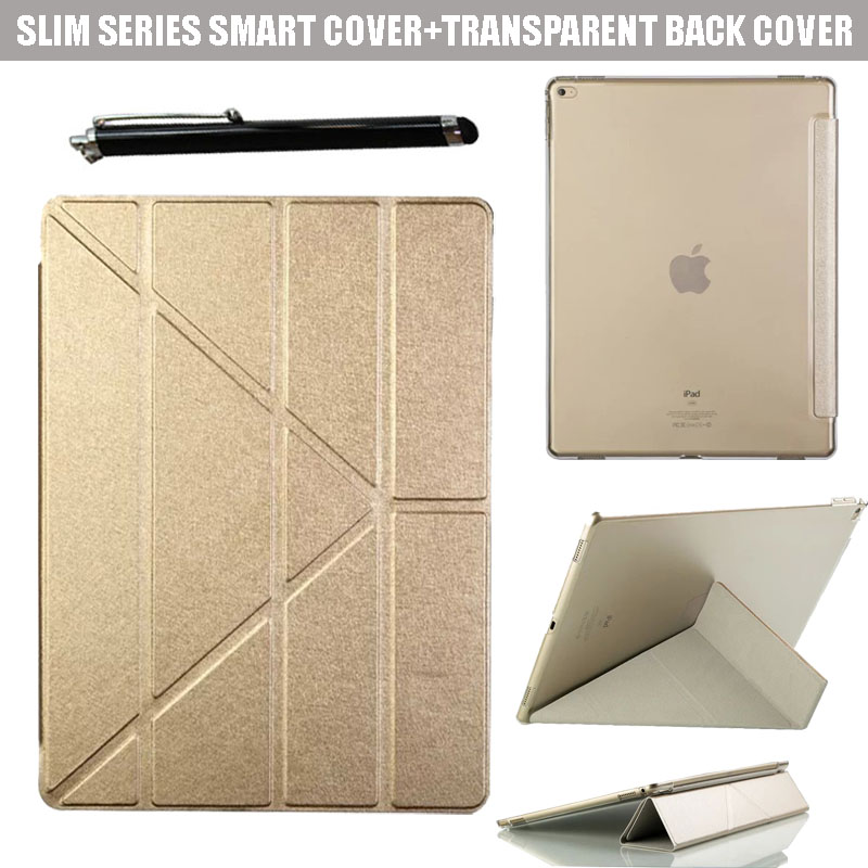 Origami Style Cross Ultra Slim Lightweight Smart Cover PU leather Clear Back Folio Case for Apple iPad Pro 12.9 inch Tablet