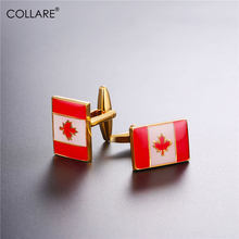 Collare Australia Flag Cufflinks For Mens Gold/Silver Color Luxury Cuff links Jewelry Maple Leaf Cufflinks High Quality C200(China)