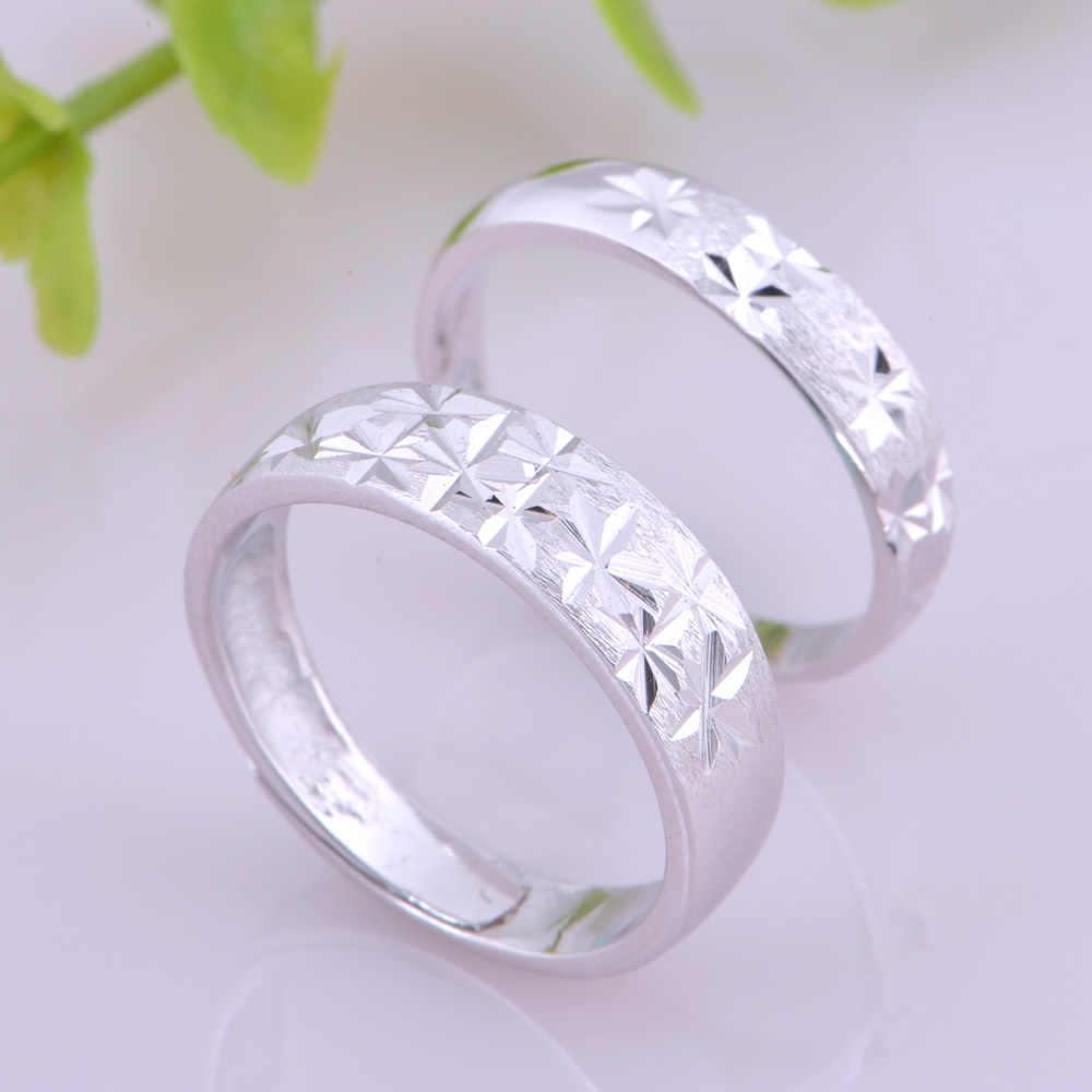 925 ניס פרח מכונית טבעת אירוסין זוג עיצוב טבעות תכשיטי טבעות מאהב לזכר נקבה מצופה זהב J046