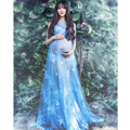 2017 Voile Transperant Blue Maternity Long lace Dresses Pregnant Photography Props Fancy Pregnancy Style Beach Dress Flower blue