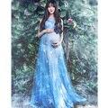 2017 voile transperant azul maternidade vestidos de renda longos grávidas gravidez adereços fotografia fantasia estilo beach dress flor azul