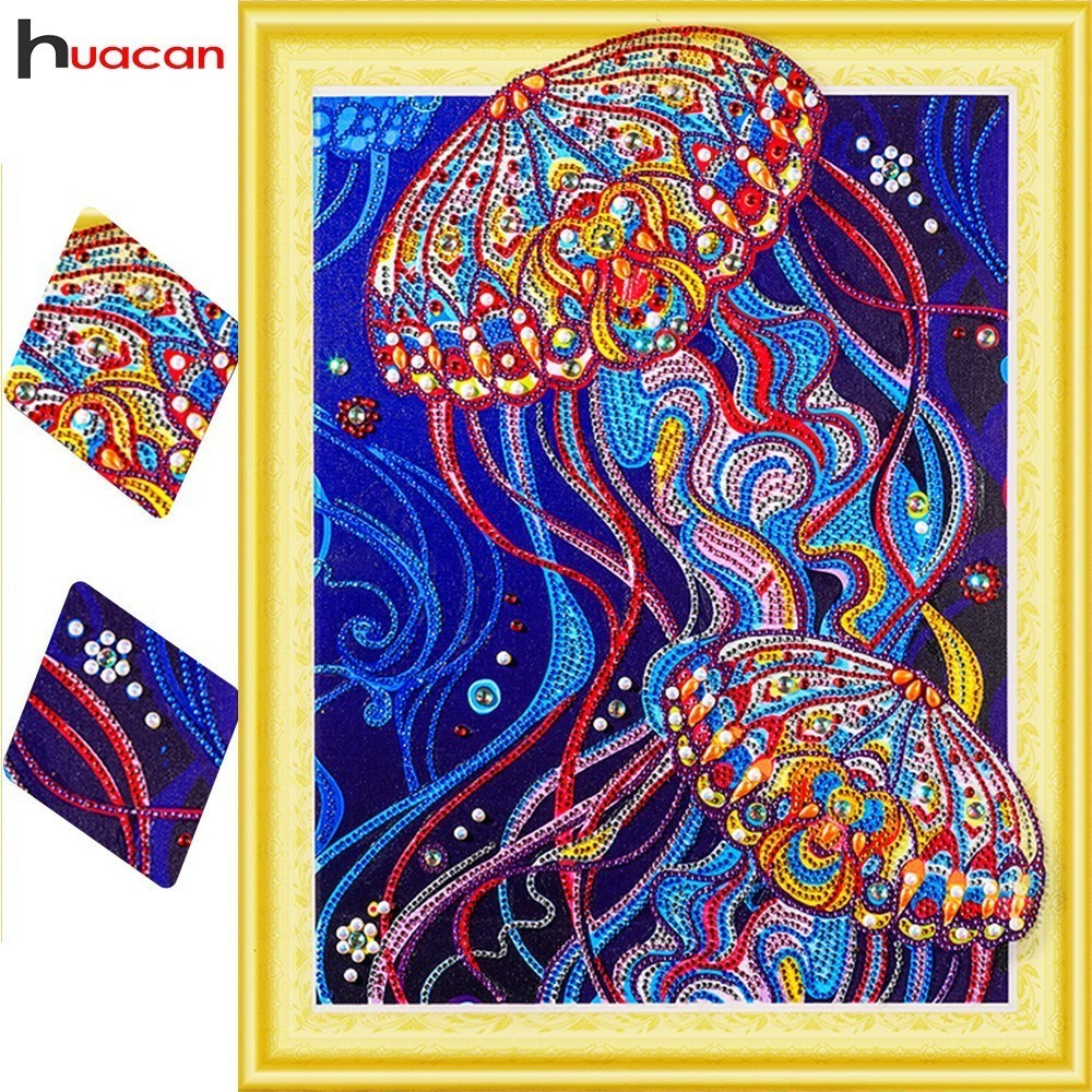 HUACAN 5D Pittura Diamante Animale Speciale Forma di Diamante Del Ricamo Medusa Vernice Colorata Con Diamanti Set Artigianale 40x50 cm