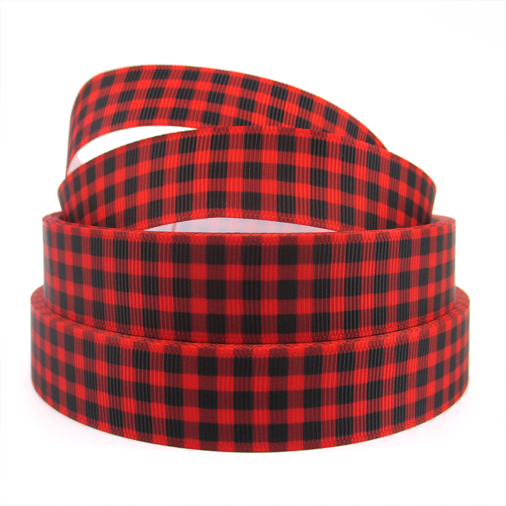 22mm PLAID argyle series high quality printed polyester ribbon <font><b>50</b></font> yards,DIY handmade materials,wedding gift wrap,50Yc584 image