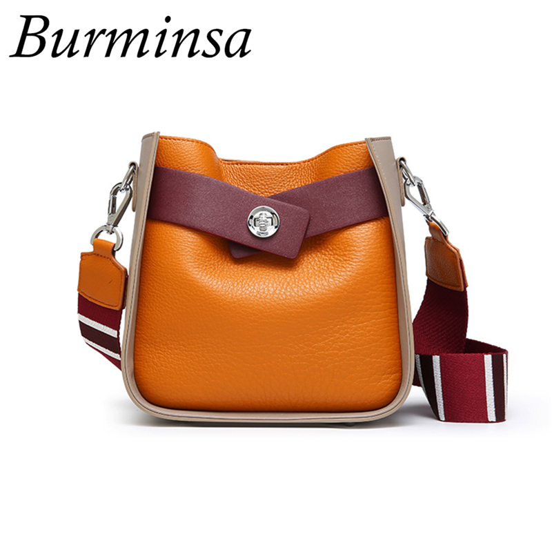 Burminsa Tricolor Small Genuine Leather Shoulder Bags Women Wide Strap Bucket Crossbody Bags Ladies Messenger Bags