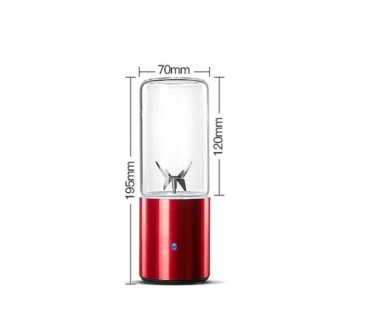 Mélangeur usb Mini bouteille de jus Portable mélangeur tasse 330 ml Base en alliage d'aluminium brevet batterie au Lithium recharge 6 lames