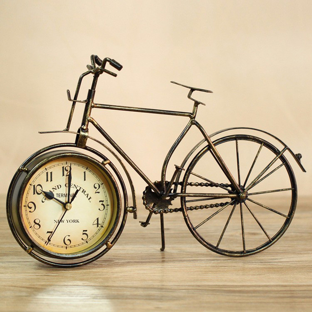 Metal bicycle desktop clock mute home decoration vintage table clock horloge frozen reloj