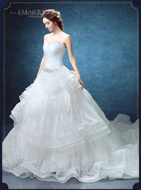 Ysz131vintage Chapel Train Ball Gown White Organza Wedding Dress Heavy Ruffles Tiered Sleeveless
