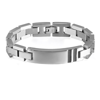 BONISKISS Free Engrave Men's Personalized DIY ID Bracelet Bangle 316L Stainless Steel,19.5 21CM