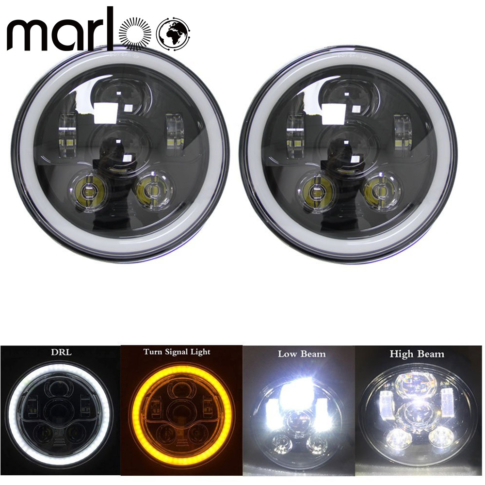 Marloo 7 Inch Round 90W LED Headlights With Halo Ring Angel Eyes DRL For Jeep Wrangler JK TJ LJ 1997 - 2017 (DOT Approved) marloo dot 7 inch 120w 9000 lumens hi lo beam led headlights with side halo ring drl turn signal for jeep wrangler jk tj lj