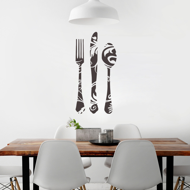 Fork Knife Spoon Wall Decals Kitchen Bakery Store Window Glass - Wall stickers for dining roomdining room wall decals wall decal knife spoon fork wall decal