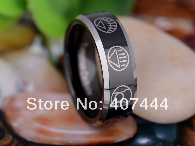 free shipping usa uk canada russia brazil hot sales 8mm black green lantern darkest night mens tungsten carbide wedding ring in rings from jewelry - Green Lantern Wedding Ring