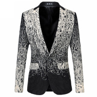 Male Fashion Vintage Floral Printed Grey Blazer Men Jacket Outerwear Luxury Gradient Leopard Dress Clothing Fancy