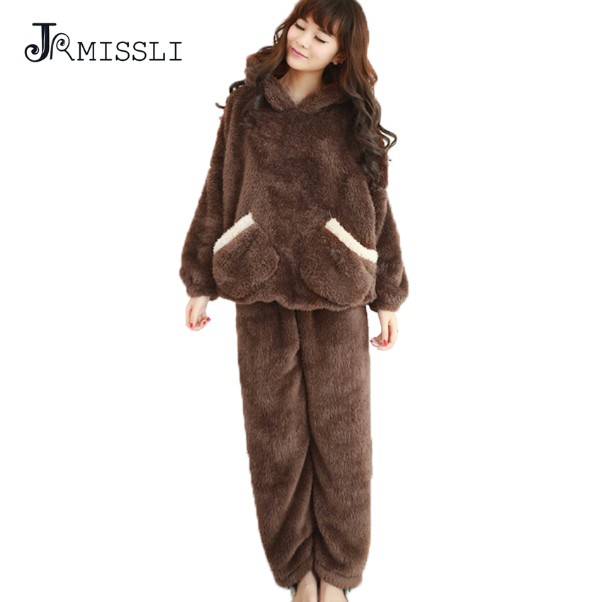jrmissli m 2xl flannel hooded thicker women pijama cute thick wool plush pajamas polar bear. Black Bedroom Furniture Sets. Home Design Ideas