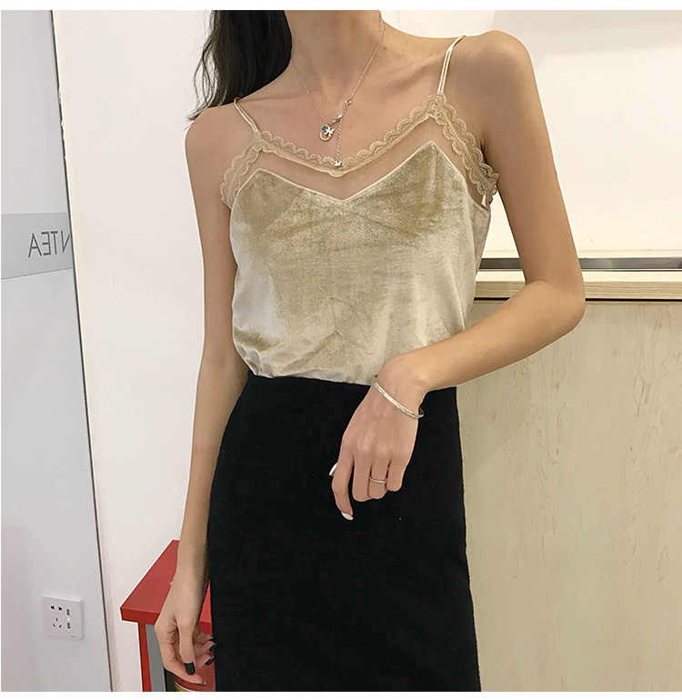 11d7094246b664 ... 200 pounds fat sister velvet camisole female lace inside the bottoming  shirt large size wear loose