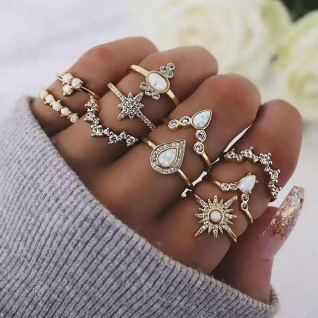 10pcs/set Bohemia Women Rings Set 2019 Vintage Gold Colour Sun Heart Crystal Charm Finger Ring Sets For Women Jewelry Gift