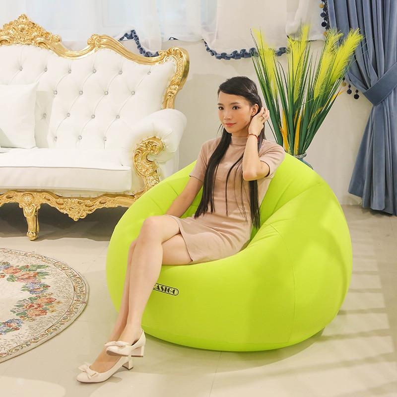 Gonflable Air Canapé pour Bébé Adultes Flocage PVC Paresseux Canapé dans le Salon Bureau Amovible En Plein Air Sac De Haricots Pouf pour camping