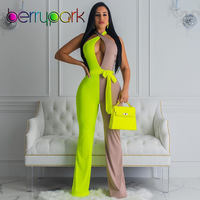 BerryPark 2019 Women Jumpsuit Green Gray Patchwork Sleeveless Backless Criss Cross Halter Wide Legs Sexy Jumpsuits Drop Shipping